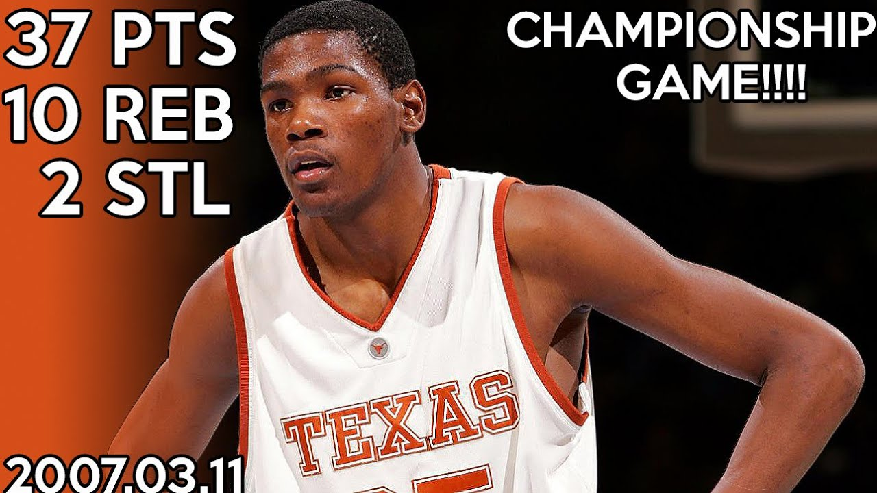 huge selection of d1d5e b8f7c Kevin Durant College Highlights vs Kansas for Big 12 Championship  (2007.03.11) / 37 points !!! HD