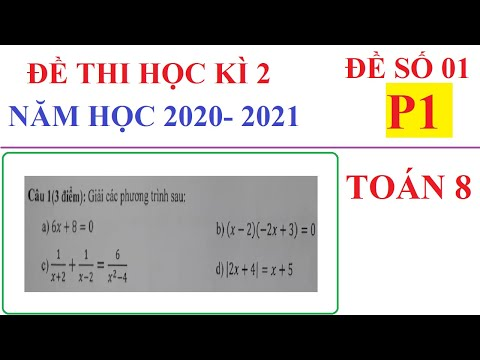 ĐỀ THI HỌC KÌ 2 TOÁN LỚP 8 NĂM HỌC 2020-2021. ĐỀ 01-P1