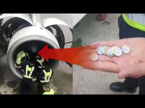 Woman throws coins in plane engine; Airbus engine falls apart mid-air over Atlantic - Compilation