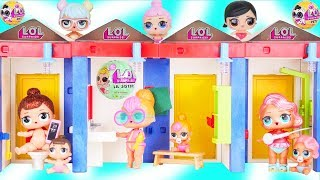 LOL Surprise Dolls in Pool Playmobil Changing Room Haul + Lil Sisters - Toy Mystery Fizzy Bomb Video