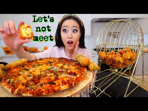 NUCLEAR CHEESE BALL BINGO MACHINE! + PIZZA & EGG ROLLS MUKBANG