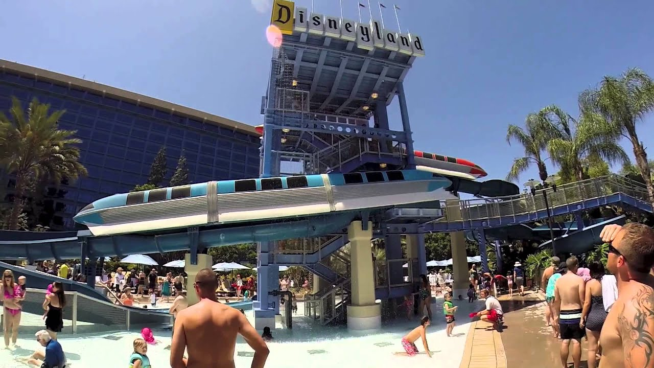 Disneyland Hotel Monorail Water Slides Red & Blue Side