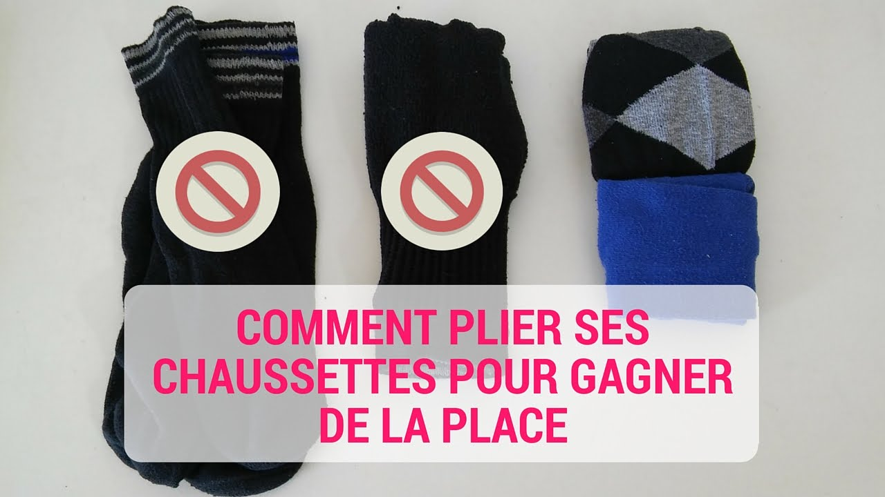 comment plier ses chaussettes et gagner plein de place youtube. Black Bedroom Furniture Sets. Home Design Ideas