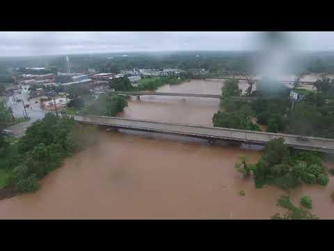 Hurricane Harvey Brazos River Bridge at Richmond - by Drone