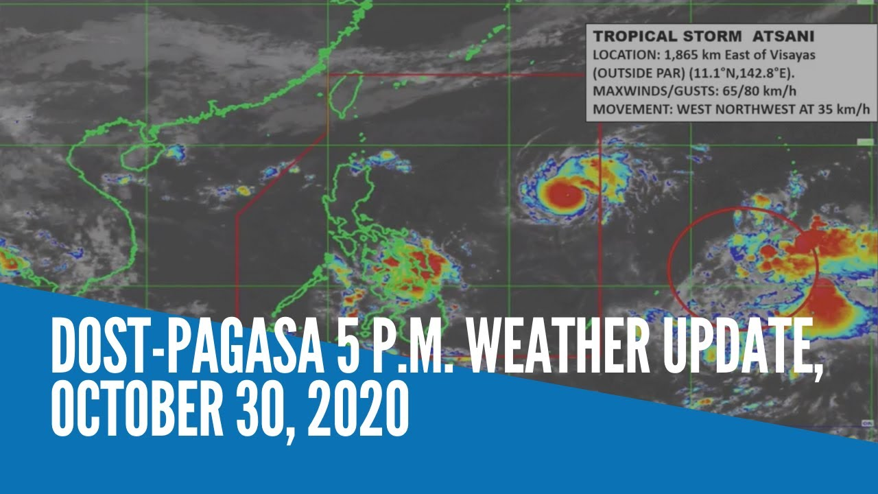 DOST-Pagasa 5 p.m. weather update, October 30, 2020