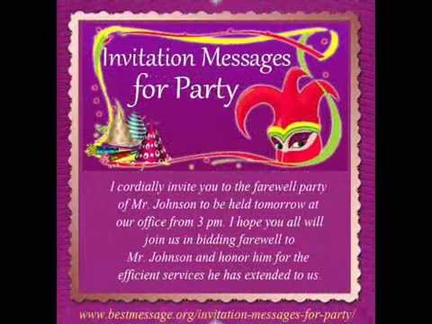 Best invitation messages sample party invitation text message best invitation messages sample party invitation text message youtube spiritdancerdesigns Images