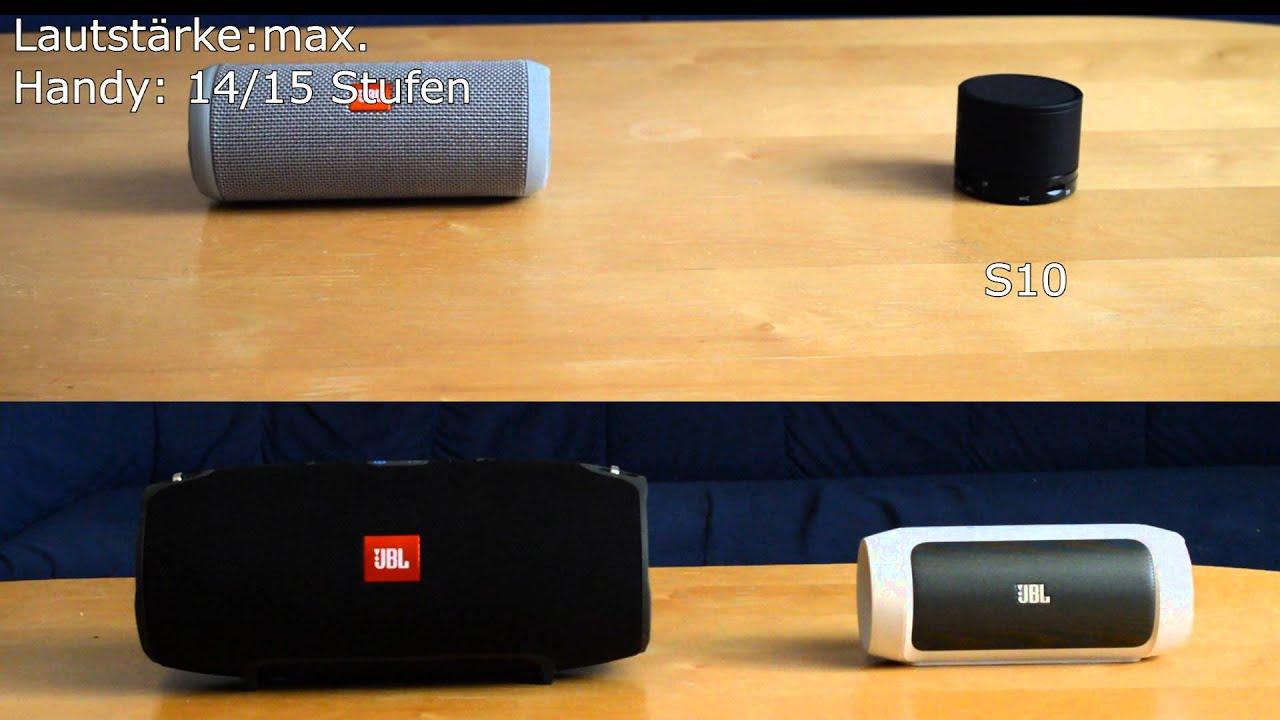 JBL Flip 3 vs JBL Xtreme vs JBL Charge 2 vs S10 - YouTube