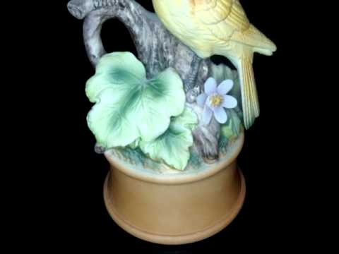 Vintage Musical Porcelain Yellow Canaries  Figurine from Shafford Japan