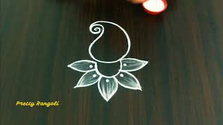 Easy apartment rangoli design for beginners||Alpona in just 2 minutes||freehand kolam||muggulu #273