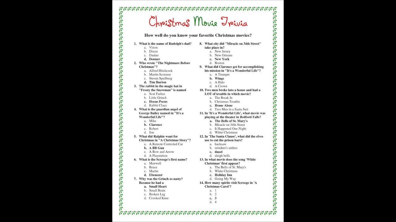 christmas trivia questions quiz - YouTube