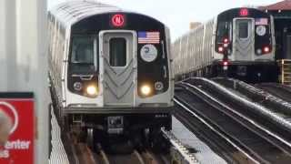 BMT Astoria Line: R160B Siemens N Train at 39th-Beebe Ave-31st St (PM Rush Hour)