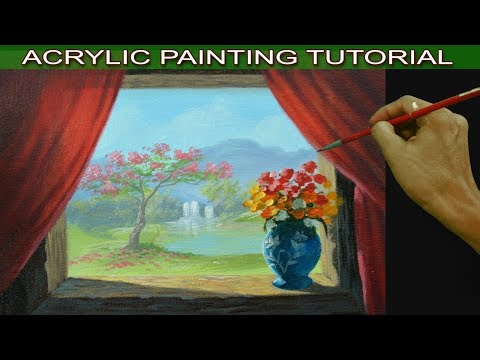 Acrylic Painting Tutorial Still Life Flower Vase on Window Overlooking Landscape and Red Curtain
