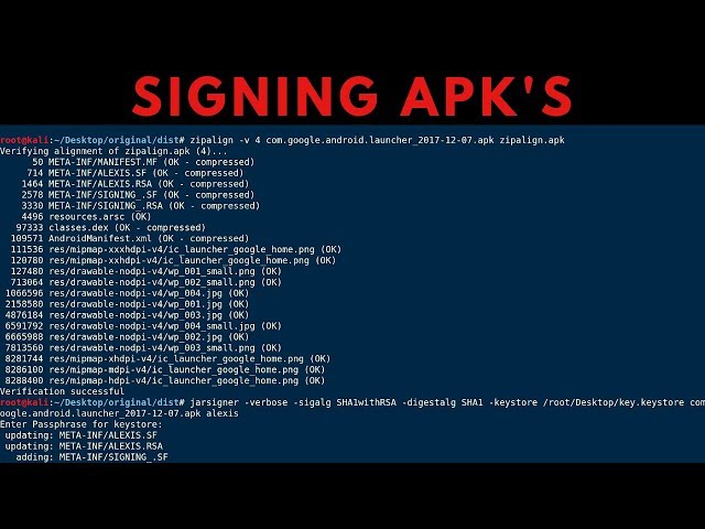 How To Manually Sign APK's with Jarsigner & Zipalign
