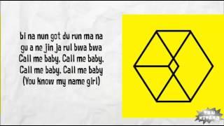 EXO - CALL ME BABY Lyrics (easy lyrics)