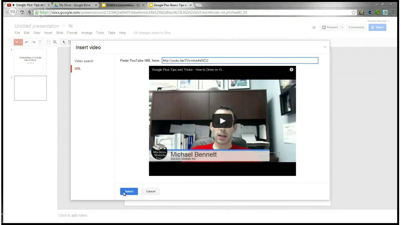 How to link or embed a youtube video in a google drive how to link or embed a youtube video in a google drive presentation google basics tips tricks ccuart Images
