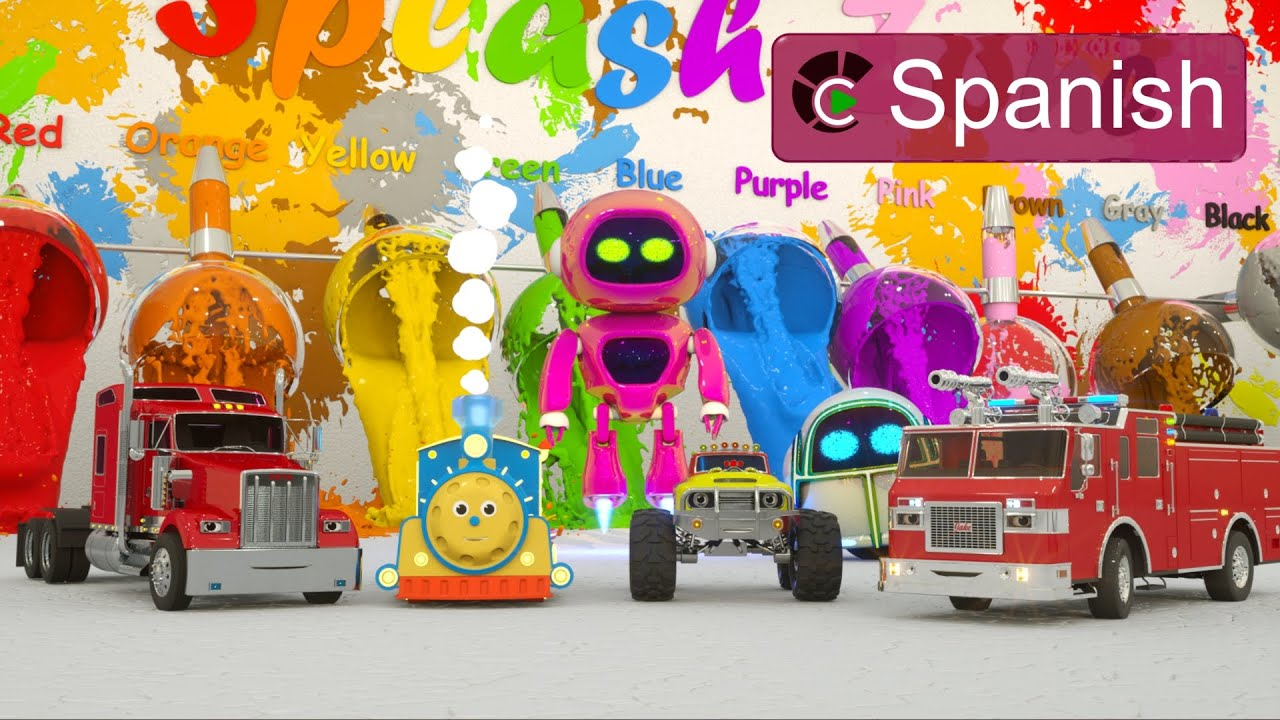 Learn Colors (SPANISH) - Aprenden Colores Jugando con Pintura (Max el tren, Jake Camión Bomberos)