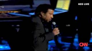 "Lionel Ritchie singing at ""Michael Jackson memorial"" (STAPLES CENTER)"