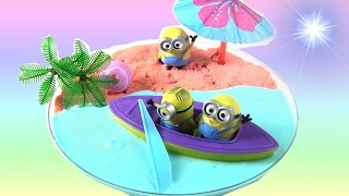 DIY Minion Beach Slime Art | Strawberry Slime to Learn Colors | Glitter Pony | Rainbow Collector