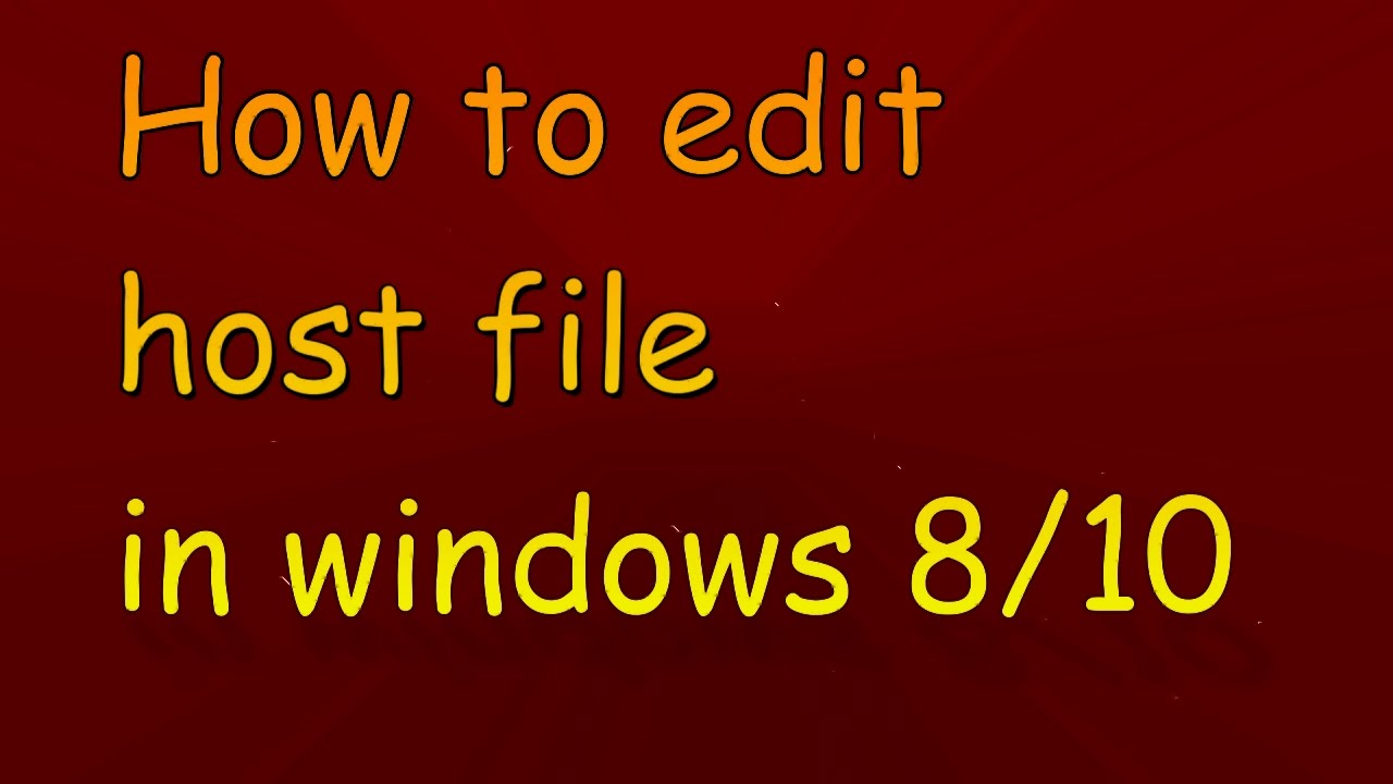 how to edit host file win 10