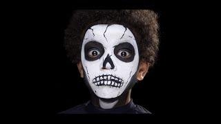 Skeleton Halloween Face Painting Make-up Tutorials for Children Thumbnail