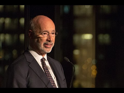 Tom Wolf, Governor of Pennsylvania,  and SHASS Dean Melissa Nobles