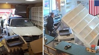 Crazy car crash  Animal hospital staff uninjured as car crashes through clinic wall   TomoNews