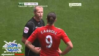 Andy Carroll has committed a foul for constipation (Liverpool vs Valencia 2-0)