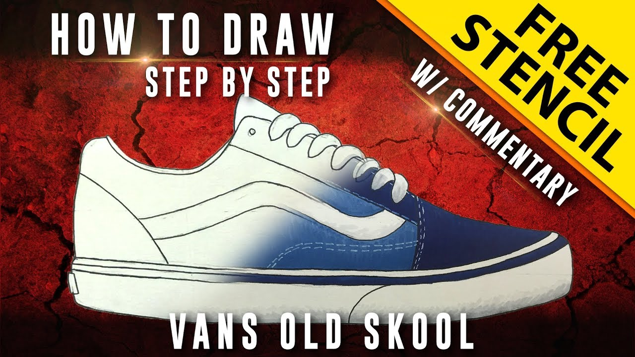 How To Draw Step By Step Vans Old Skool W Downloadable Stencil