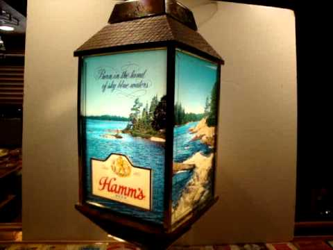Vintage HAMMS BEER Rotating Hanging Light FOUR SIDED