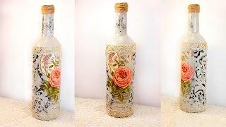 #29 Декупаж для начинающих бутылка шебби шик декупаж на стекле мастер класс трафарет шпатлевка
