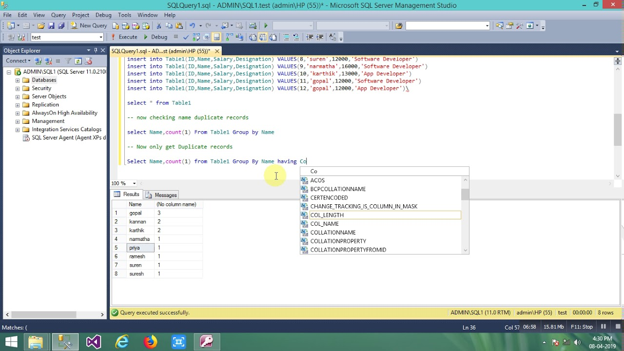 Find Duplicate Records in sql Server using Group By having Clause SQL  SERVER TUTORIAL