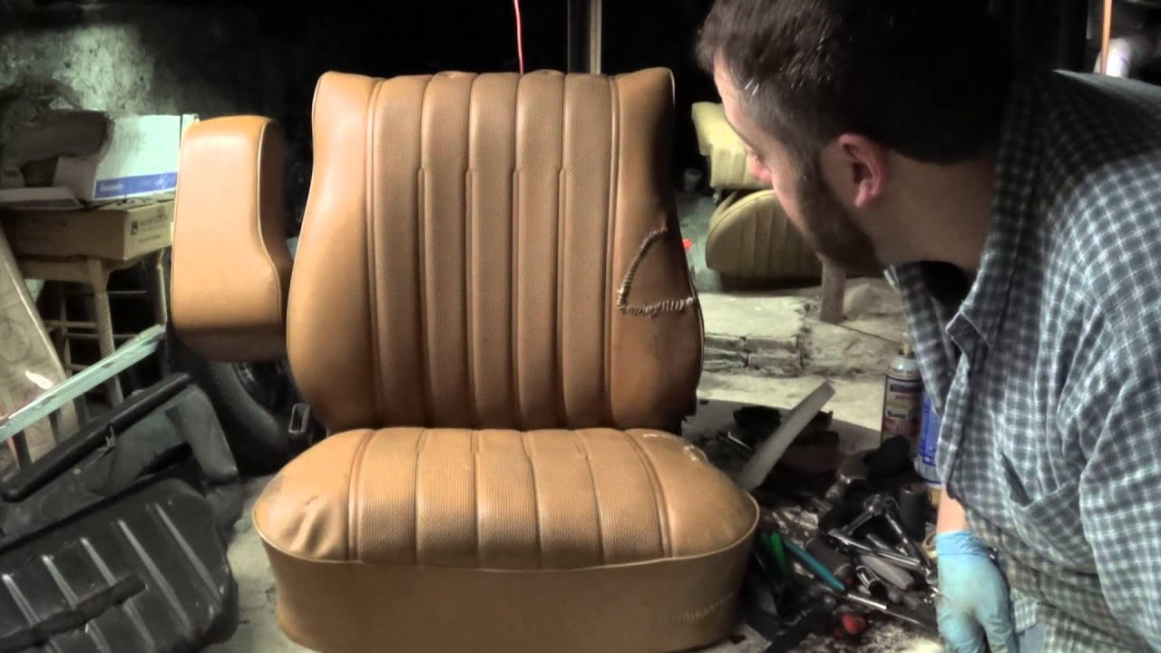 Mercedes benz 240d w123 seat repair part 7 youtube for Mercedes benz upholstery repair
