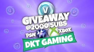 ☂Fortnite Giveaway 4000 V-bucks at 10 Sponsor Goal 2/10 ☂
