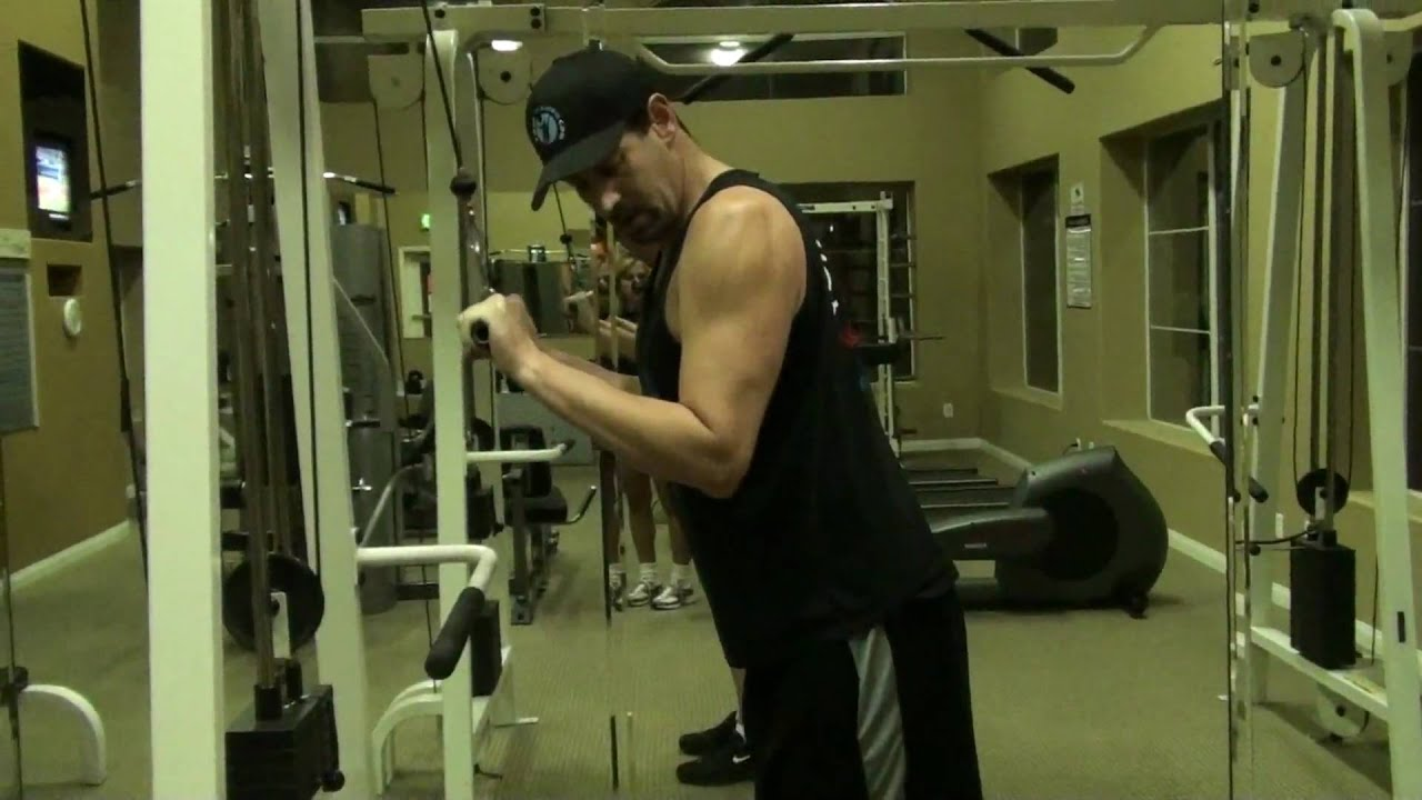 Chair Exercises On Cable Tv Director Replacement Canvas Triceps Extension W Straight Bar Youtube
