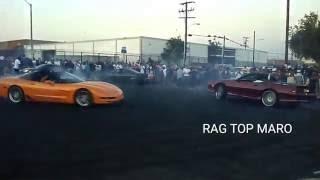 Crenshaw takeover Sunday funday Bay2LA Burnout compilation Corvette C5 vs Camaro Z28