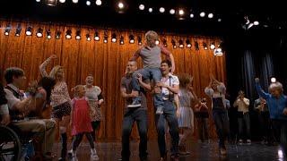 "Performance of ""don't stop"" starring sam evans (chord overstreet), quinn fabray (dianna agron), finn hudson (cory monteith), rachel berry (lea michele), noah..."
