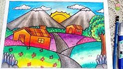 Pemandangan Gunung Cara Menggambar Dan Mewarnai Dengan Gradasi
