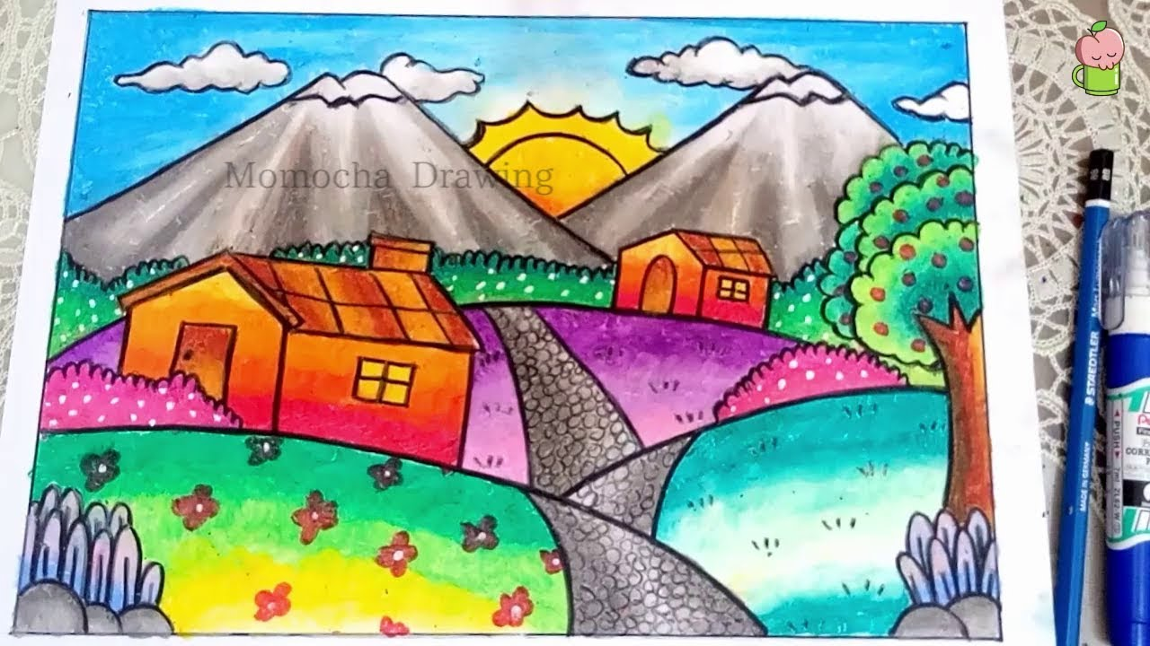 How To Draw Mountain Scenery For Kids EASY