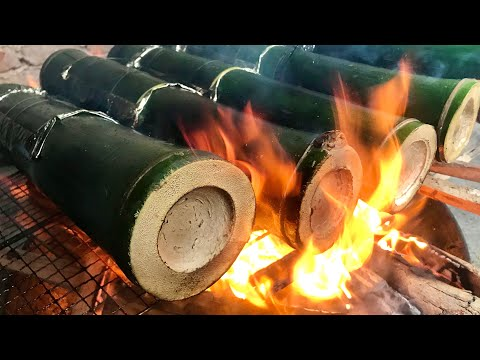 bamboo-rice-|-cooking-sticky-rice-in-bamboo-tube-|-腊肉竹筒饭