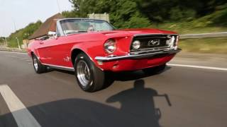 1968 ford mustang 50 v8 red convertible american muscle car