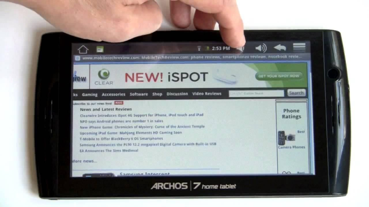 opgehaald authentiek gedetailleerde foto's Archos 7 Home Tablet Video Review