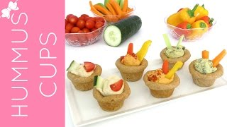 Mini Cupcake Pan Whole Wheat Flatbread Hummus & Veggie Cups