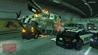 GTA V - Tank Rampage 5 Star Wanted Gameplay HD