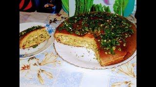 Выпечка.Заливной пирог с куриным филе ,рисом и зеленью.
