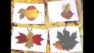 Детское творчество Аппликации и поделки из сухих листьев