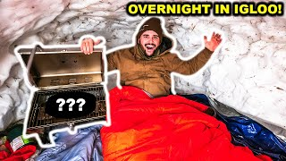 OVERNIGHT Camping INSIDE of IGLOO in My BACKYARD!!! (Bad Idea)