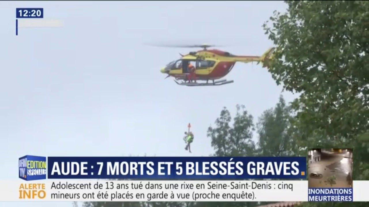 Inondations dans l'Aude: des habitants piégés à Villegailhenc sauvés par hélicoptère
