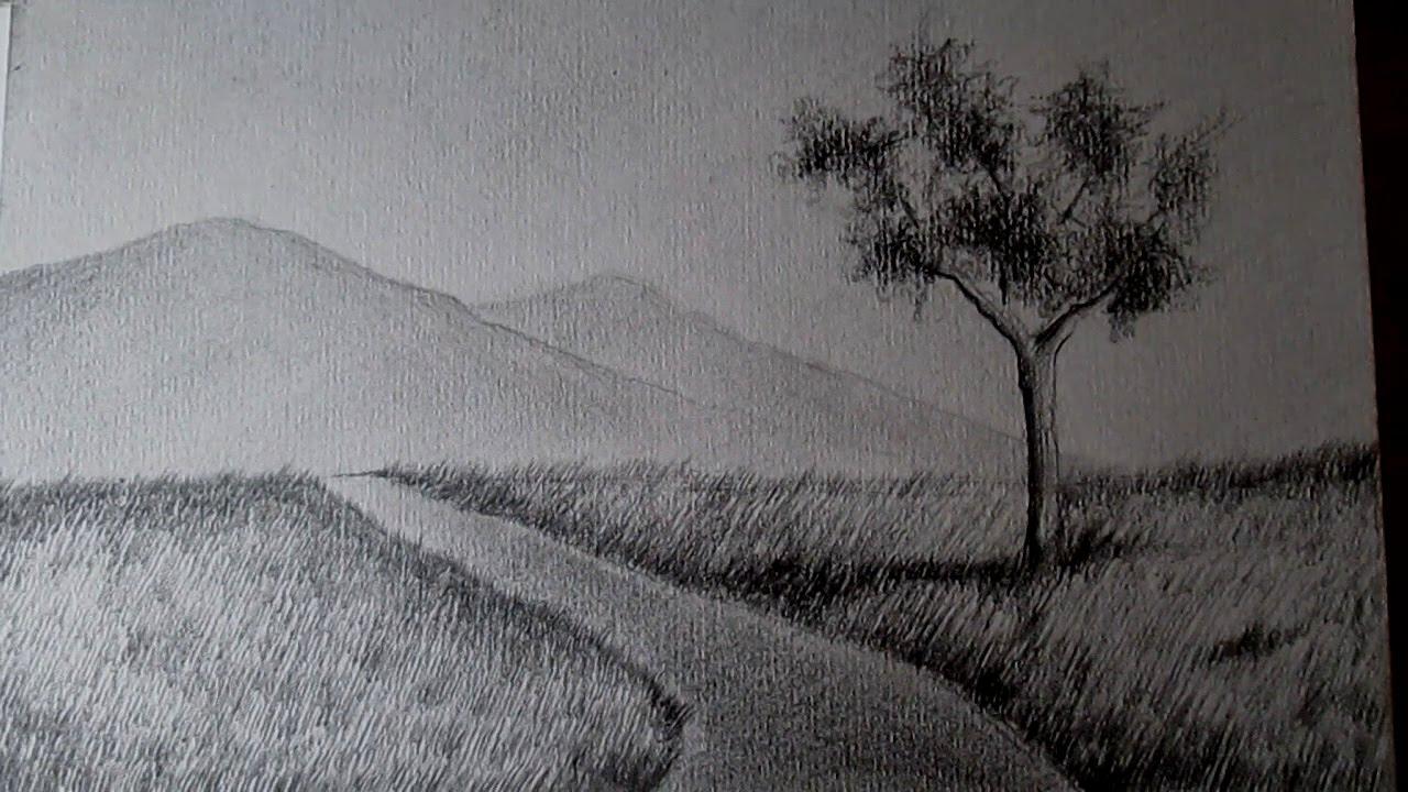 El paisaje más fácil del mundo, cómo dibujar paisajes a lápiz paso ...