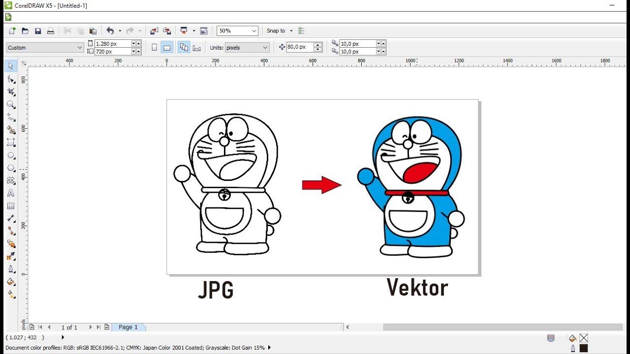 Cara Cepat Merubah Gambar Jpg Menjadi Vektor Corel Draw Youtube