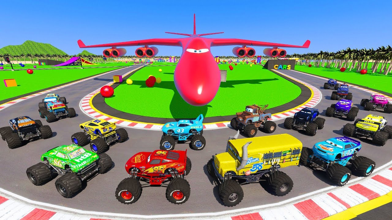 Download Race Crazy Cars Monster Trucks McQueen & Friends  Mater The King Miss Fritter Crazy Track 8